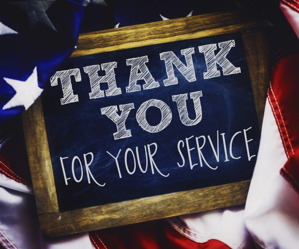 Salute the Veterans Veterans Day thank you sign