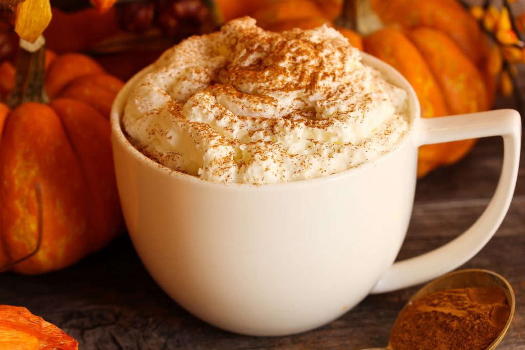 Pumpkin Spice latte at coffee shop